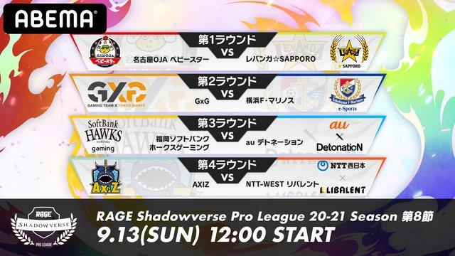 RAGE Shadowverse ProLeague 20-21シーズン 第8節
