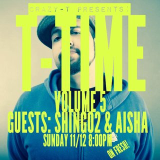 CRAZY-T PRESENTS: T-TIME (11月編アップデート・再放送) GUESTS: AISHA, SHING02
