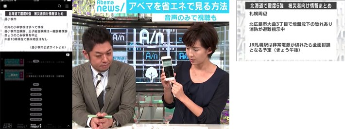Disaster emergency information summary was broadcast in text for disaster-affected persons during an Intensity 6 earthquake in Hokkaido.