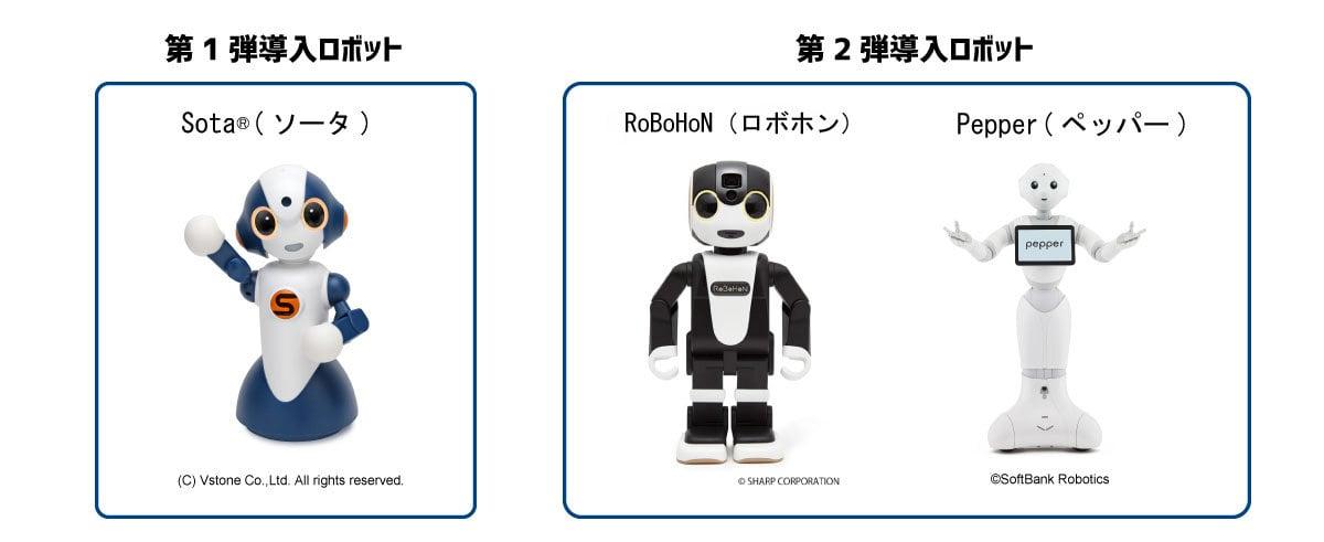 ※1 「Sota®(ソータ)」はヴイストン株式会社の登録商標です。※2 「RoBoHoN(ロボホン)」はシャープ株式会社のロボットです。※3 「Pepper(ペッパー)」はソフトバンクロボティクス株式会社の人型ロボットです。