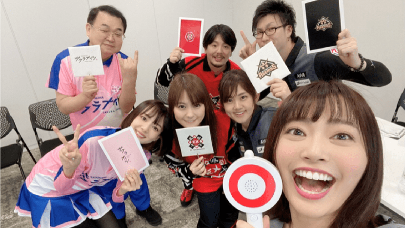 今年3月14日開催の3チーム合同イベント「DREAM PARTY」での様子 松本圭世アナウンサー@matsukayo0806のTwitterより
