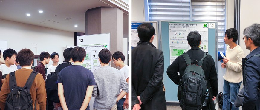 研究会での発表の様子(左:NLP若手の会2019、右:第10回対話システムシンポジウム)