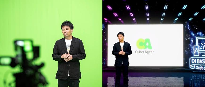 代表の藤田によるオープニングも、バーチャル撮影システムを活用しました