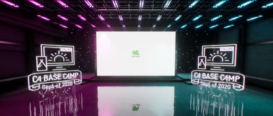 バーチャル基調講演会場では「リアルタイム3DCG合成」を活用することで、CGの世界に入り込んだような没入感のある演出が可能となった。