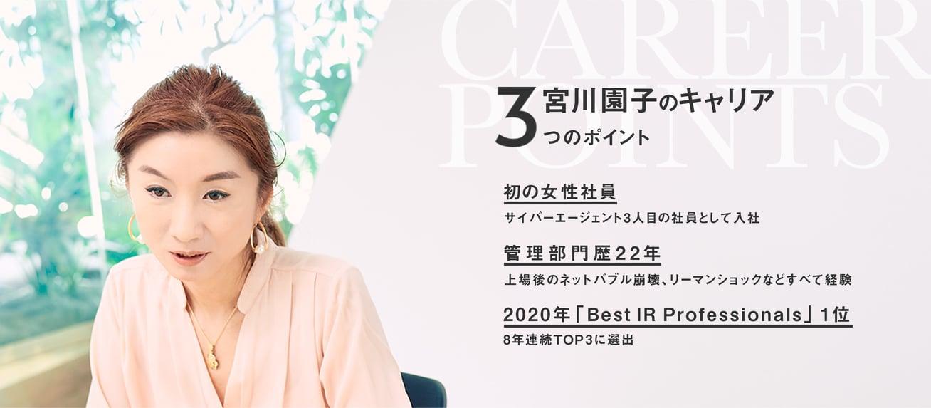 IR・SR室 室長   宮川 園子    1999年設立間もない時に初の女性社員として入社。2003年より広報IR室を新設し、投資家向け広報業務IRに従事。米国金融専門誌「Institutional Investor」発表のゲーム、インターネット&ソフトウェアセクターにおいて「Best IR Professionals」に8年連続TOP3に選出され2020年1位を獲得。