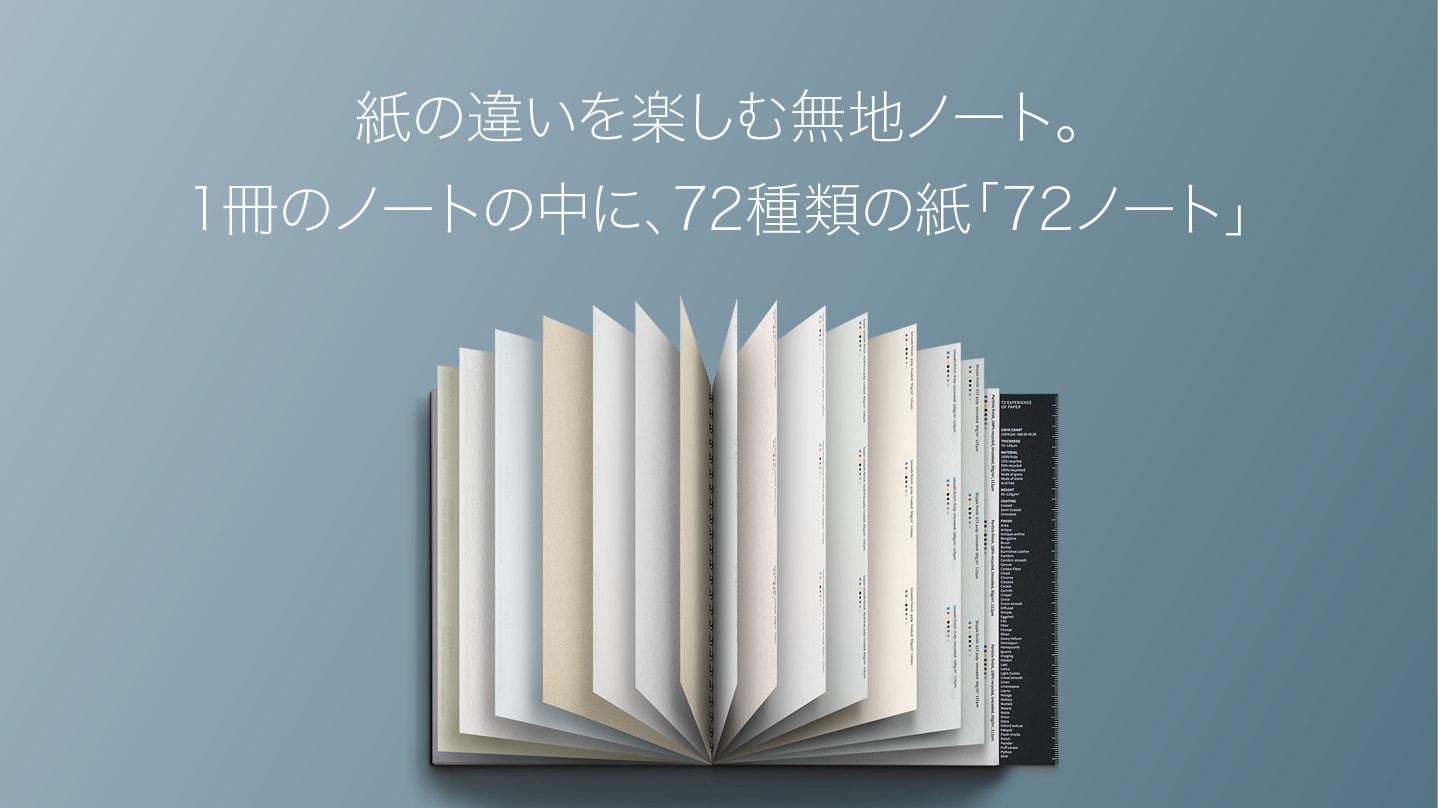 1冊のノートの中に、72種類の紙質が!好きな紙がきっと見つかる「72ノート」