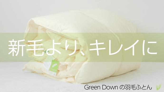 人と環境に優しく、丸洗いOK!リサイクル羽毛「Green Downの羽毛ふとん」