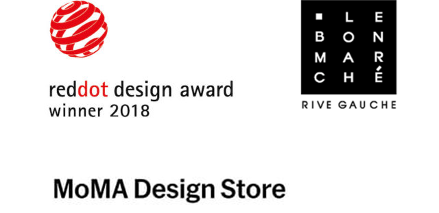 RED DOT DESIGN AWARD、TGA AWARDS(Innovation Award)、 Le Bon Marché、the MOMA Design Storesのロゴ