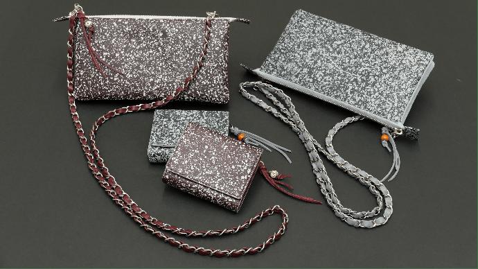Makuake|伝統技法で染色した革を使った、ポシェットタイプの財布と三つ折ミニ財布。